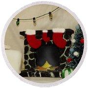 Mallow Christmas Round Beach Towel