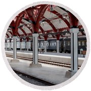 Malmo Train Station Round Beach Towel