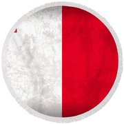 Malta Flag Vintage Distressed Finish Round Beach Towel