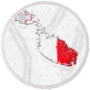 Malta Painted Flag Map Round Beach Towel