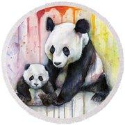 Panda Watercolor Mom And Baby Round Beach Towel
