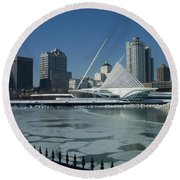 Mam In Winter From Water Round Beach Towel
