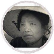 Mama San Pleiku Central Highlands Vietnam 1968 Round Beach Towel