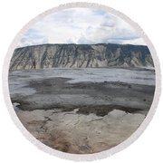 Mammoth Hot Spring Landscape Round Beach Towel