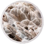 Mammoth Hot Springs Closeup Round Beach Towel