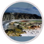Mammoth Hot Springs Round Beach Towel