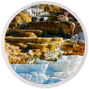 Mammoth Hot Springs Rock Formation No1 Round Beach Towel