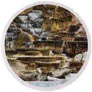 Mammoth Hot Springs - Yellowstone Round Beach Towel
