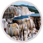 Mammoth Hot Springs Yellowstone Np Round Beach Towel