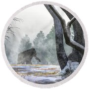 Mammoth In The Distance Round Beach Towel