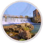 Mammoth Spring Dam And Hydroelectric Plant - Arkansas Round Beach Towel