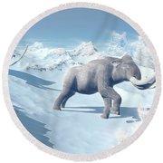 Mammoths Walking Slowly On The Snowy Round Beach Towel