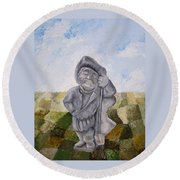 Man And Earth Round Beach Towel