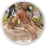 Man And Trees. Florida Round Beach Towel