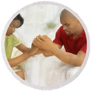 Man And Wife Pray Round Beach Towel