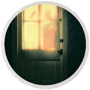 Man At Door With Cleaver Round Beach Towel