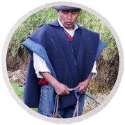 Man At Otavalo Animal Market Ecuador Round Beach Towel