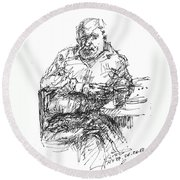 Man At The Bar Round Beach Towel