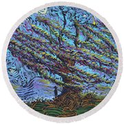 Man Beneath The Willow Round Beach Towel