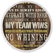 Man Cave Rules 2 Round Beach Towel by Debbie DeWitt