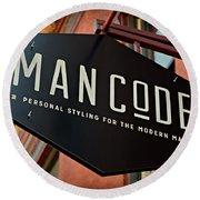 Man Code Round Beach Towel
