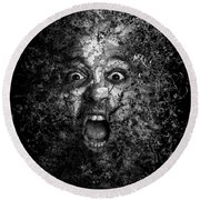 Man Eyes Face Horror Portrait Black And White  Round Beach Towel