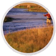 Man Fly Fishing On The Owens River Round Beach Towel