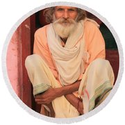 Man From India Round Beach Towel