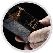 Man Hands Holding Old Bible Round Beach Towel