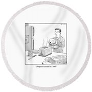 Man, Holding Dog, Speaks To Dog As Both Watch Round Beach Towel by Harry Bliss