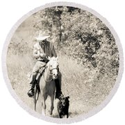 Man Horse And Dog Round Beach Towel