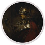 Man In Armor Round Beach Towel