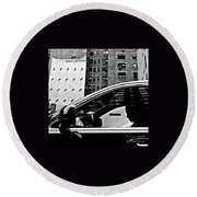 Man In Car - Scenes From A Big City Round Beach Towel