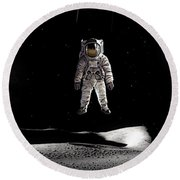 Man In Space Round Beach Towel