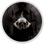 Man In The Hooded Cloak Holding Burning Human Skull In His Hand Round Beach Towel