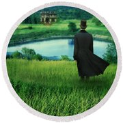 Man In Top Hat On A Hill Round Beach Towel
