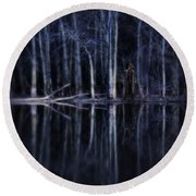 Man In Woods By River Round Beach Towel