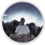 Man Meditating In The Nature During Sunrise Round Beach Towel