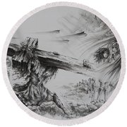 Man Of Sorrows Round Beach Towel