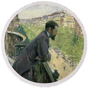 Man On A Balcony Round Beach Towel by Gustave Caillebotte