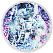 Man On The Moon - Watercolor Portrait Round Beach Towel