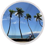 Man Riding Bicycle Beside Palm Trees Round Beach Towel