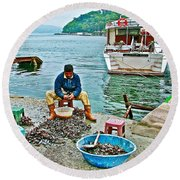 Man Selling Fresh Mussels On The Bosporus In Istanbul-turkey  Round Beach Towel