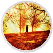 Man Standing In Front Of A Blazing Forest Fire Round Beach Towel
