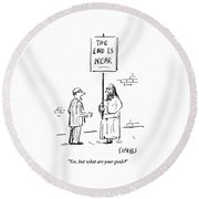 Man Talks To A Robed Street Walker With A Huge Round Beach Towel by David Sipress