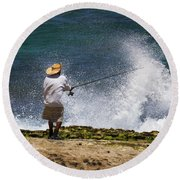 Man Versus The Sea Round Beach Towel