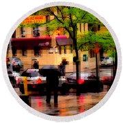 Reflections - New York City In The Rain Round Beach Towel