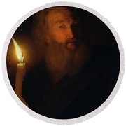 Man With A Candle Round Beach Towel