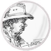 Man With A Hat Round Beach Towel