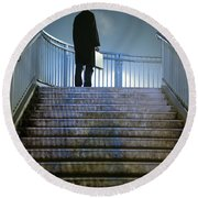 Man With Case At Night On Stairs Round Beach Towel